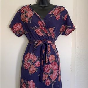 Kimono style floral print wrap dress